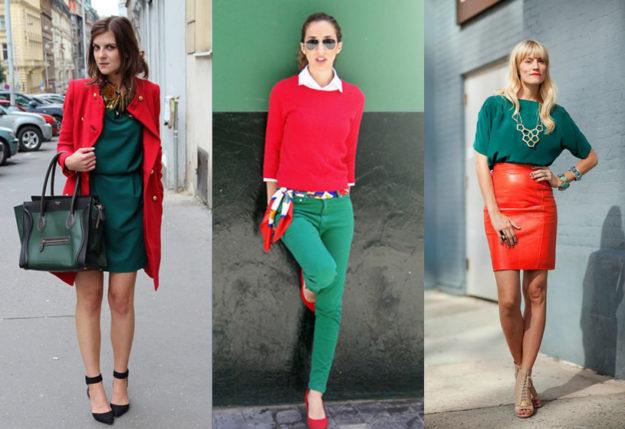 Сочетание зеленого и красного в одежде